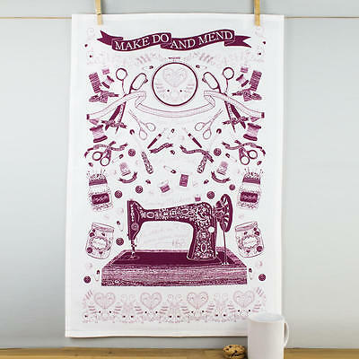 New Ulster Weavers Make Do and Mend Sewing Themed Red & White Cotton Tea Towel