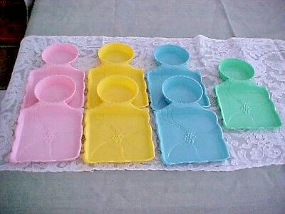 VTG  Hofmann Industries Snack Tray Cup Holder Plastic Pink~Yellow~Teal~Set of 7~
