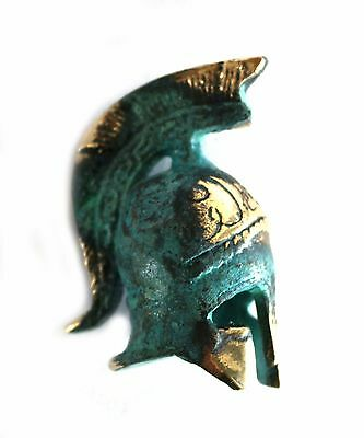 Ancient Greek Bronze Miniature Replica Helmet Green Gold Oxidization 306