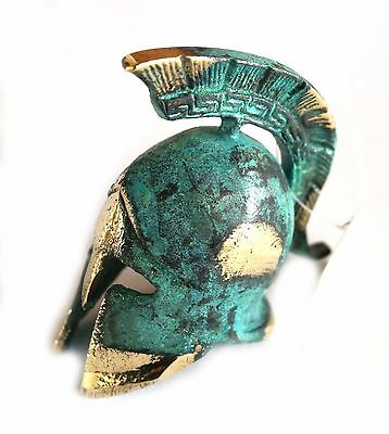 Ancient Greek Bronze Miniature Helmet Green Gold Oxidization 389-1
