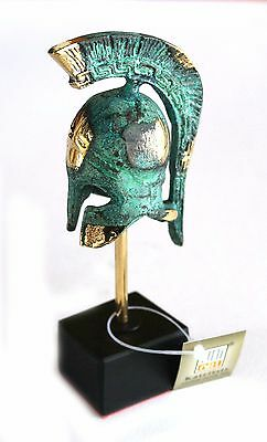 Ancient Greek Bronze Miniature Replica Helmet Green Gold Oxidization 306-1