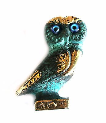 Ancient Greek Bronze Replica Owl Green-Gold Oxidization 516