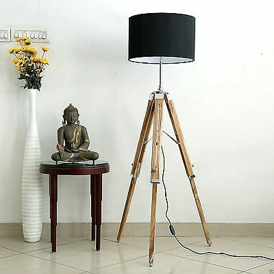 Designer Wooden Nautical Floor Lamp Tripod Lamp Lighting Home Décor Wood Stand