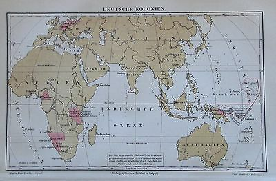 1888 DEUTSCHE KOLONIEN alte Landkarte Antique Map Lithographie