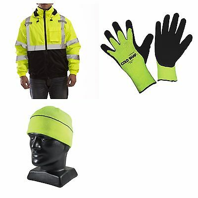 ANSI Class 3 Economy Winter Work Wear Set, Includes Beanie, Jacket, and Gloves