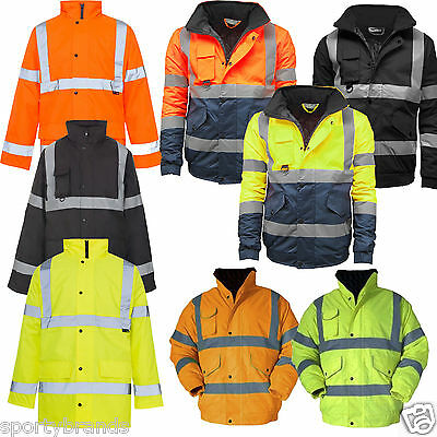 Mens Hi Viz Visibility Padded Fleece Security Waterproof Work Wear Jacket Coat