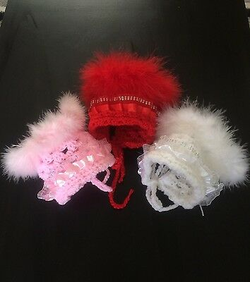 Hand Crochet Baby Bonnet Lace Marabou 0-3 Mnths Pink Christmas Red White Girl