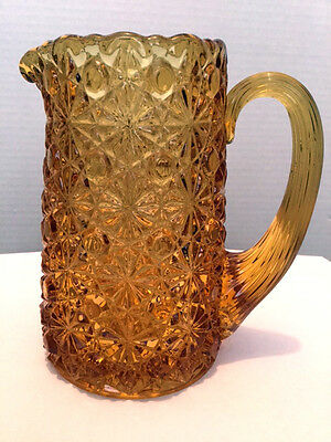 Daisy & Button Amber Creamer, ca 1880, Hobbs Brockunier, Reed Handle, 5""