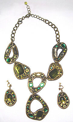 VINTAGE Massive STATEMENT Crystal RESIN Modernist ARTISAN NECKLACE/Earrings SET