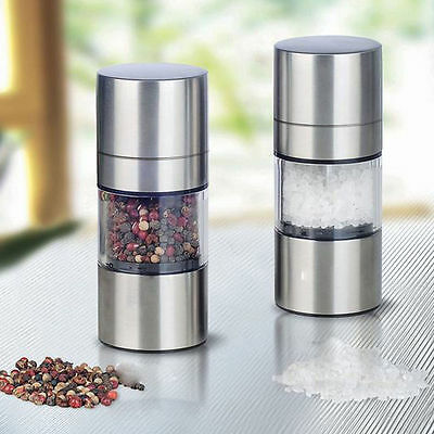 HQ Silver Manual Stainless Steel Salt Pepper Mill Grinder Muller Kitchen Tool