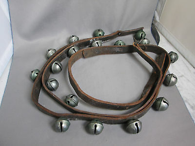 Vintage 18 No. 2 SLEIGH BELLS on Leather Strap Buckle End 4 Holes GREAT SOUND