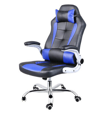 8 Point Massage Executive Office Computer Chair Heated Recliner Black PU leather