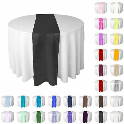 1pc Silk-Like Satin Table Runner Wedding Party Banquet Venue Decoration Colorful