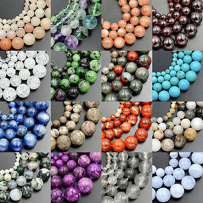 4mm 6mm 8mm 10mm Wholesale Lot Natural Stone Gemstone Round Loose Beads 15.5""