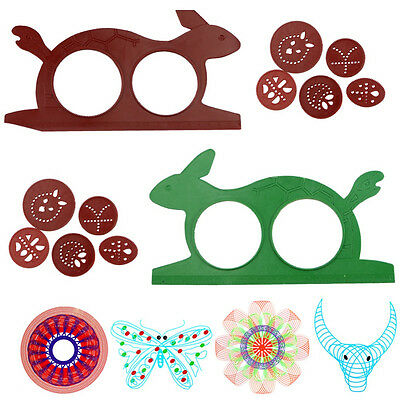 Spirograph Design Set Magic Turtle Rabbit Sketchpad Kids Drawing Ruler Board Toy