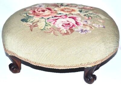 Victorian Carved Mahogany Needlepoint Footstool [PL2503]