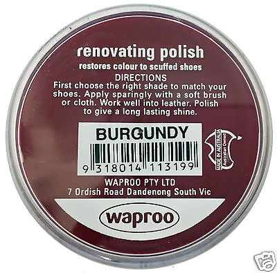 BURGUNDY Shoe Polish Cream Restore Colour to Leather SHOES / BOOTS / BAGS WAPROO