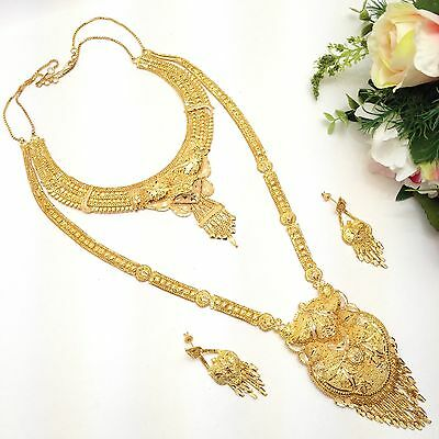 Indian Asian Bridal Jewellery Ethnic Wear 22k Gold Plated Rani Haar Necklace Set