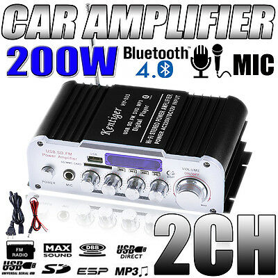 Bluetooth 12V Mini MP3 Hi-Fi Stereo Audio Amplifier with USB/SD AUX + Power Wire