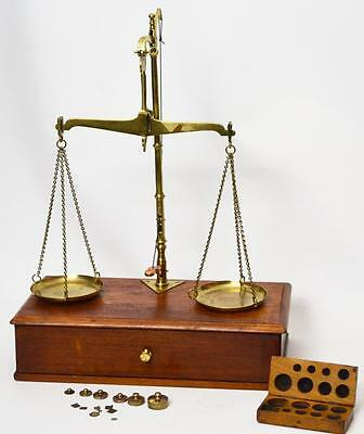 Vintage Large Apothecary Beam Scales with O. BUHTZ. Weight Set C1920s [PL2502]