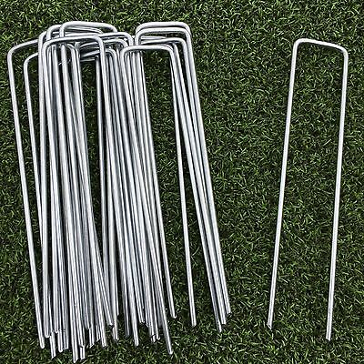 100 PACK Artificial Grass Astro Turf Steel Metal Ground Pegs Pins Staples U Pins
