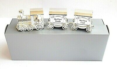 "BABY/CHRISTENING GIFT-""160mm TRAIN WITH TOOTH/CURL CARRIAGES"" in a GIFT BOX-NEW"