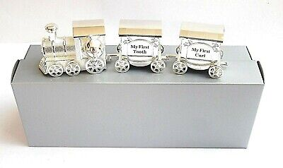 BABY/CHRISTENING GIFT-SILVER PLATED 160mm TRAIN WITH TOOTH/CURL CARRIAGES in BOX