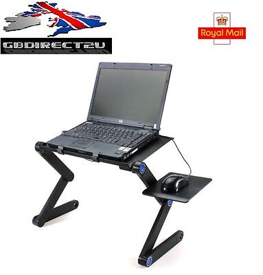 Folding Table Stand For Notebook Laptop Tablet + Mouse Holder NEW 2017 UK