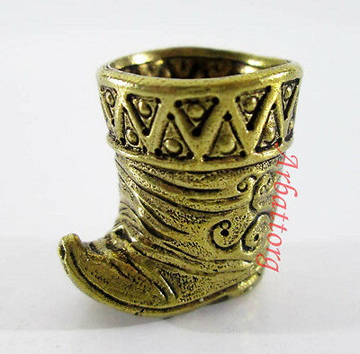Great Brass Russian Thimble IronWork Miniature Boots Shoes Excellent Bronze #266