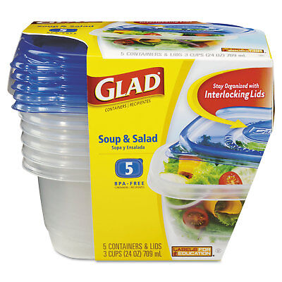 GladWare Soup and Salad Food Storage Containers 24 oz, 5/Pack