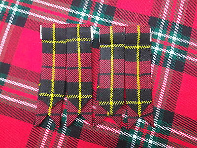 Men's Kilt Sock Flashes wallace Tartan/Scottish Kilt Hose Socks Flashes Wallace