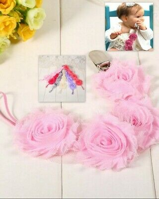 Baby Dummy Pacifier-Chain Clip Holder Flower Chiffon Strap - Pink Ivory Lilac