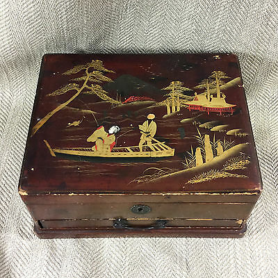 Antique Japanese Jewelry Box Chest Lacquer Ware Japan Wood Oriental Chinoiserie