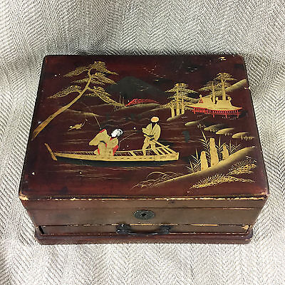 Antique Vintage Box Jewelry Japanese Vintage Red Lacquer Chest Japan Wood Vtg
