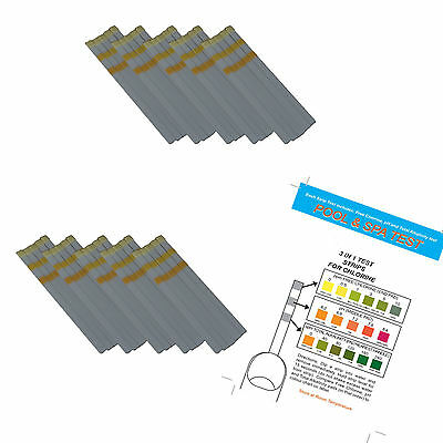 50 x 3 in 1 Chlorine Test Strips for Pools & Hot Tubs - Free Chlorine, pH + TA