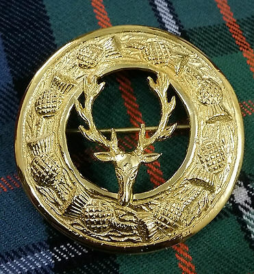 New Men's Kilt Fly Plaid Brooch Stag Head Gold Plated/Kilt Fly Plaid Brooches 3""