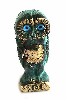 Ancient Greek Bronze Replica Owl Green-Gold Oxidization 521 • CAD $30.23