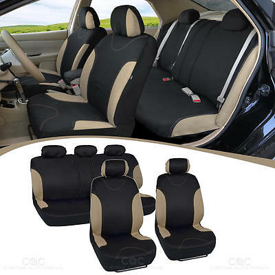 Beige Stitched Car Seat Covers - Beige Accent on Black Flat Cloth 9pc Front Rear