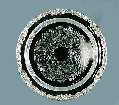 "Romantica Collection 15"" Silver Plated Round Tray"