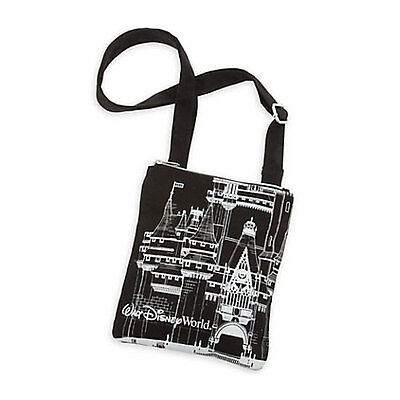 Disney Parks Walt Disney World Castle Black Canvas Crossbody Bag Purse