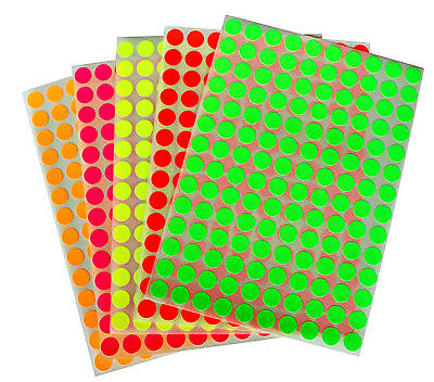 Colored Neon Circular Stickers Small Dots 10mm 3/8 Inch Round Sheet 2800 Pack