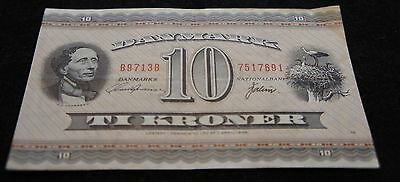 1970-71 10 Kroner Danmark Bank Note in Fine Condition Extremely Nice Note!!