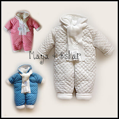 Baby Newborn Boy Girl White Pink Blue Snowsuit Hooded Padded Scarf 3 6 9 12 mth