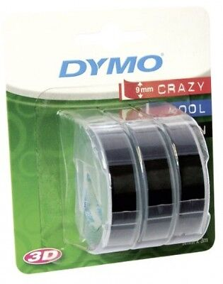Dymo Embossing Tape Self-Adhesive, 9 Mm X 3 M - White Print On Black, Pack Of 3