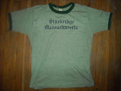 Vintage Slim Xl Sturbridge Massachusetts  Heather Ringer Green Tri Blend Shirt