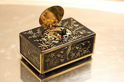 Eschle Singing Bird Box Black W/ Floral Inlay Color Functions Flawlessly