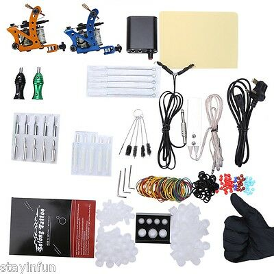 Solong Complete Tattoo Kit 29 Color Inks Power Supply 2 Top Machine Guns UK PLUG