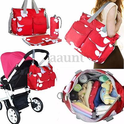 Large Waterproof Nappy Diaper Bags Changing Tote Bag For Baby Women Handbag Red