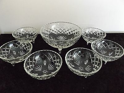 Cut Glass 7 piece Footed  Bowl Set