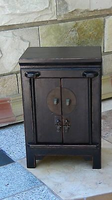 Antique Chinese Wood Carved Jewerly,apothecary 2 Door Cabinet W/drawer&2Shelve#4